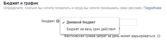 Тип ,юджета Facebook