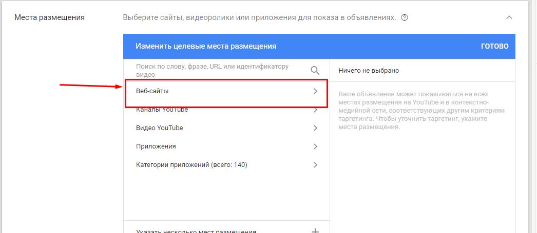 Выбор веб-сайтов