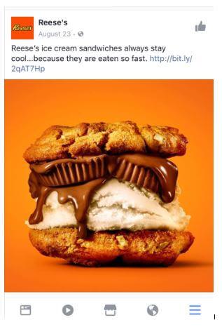Объявление Reese's в Facebook