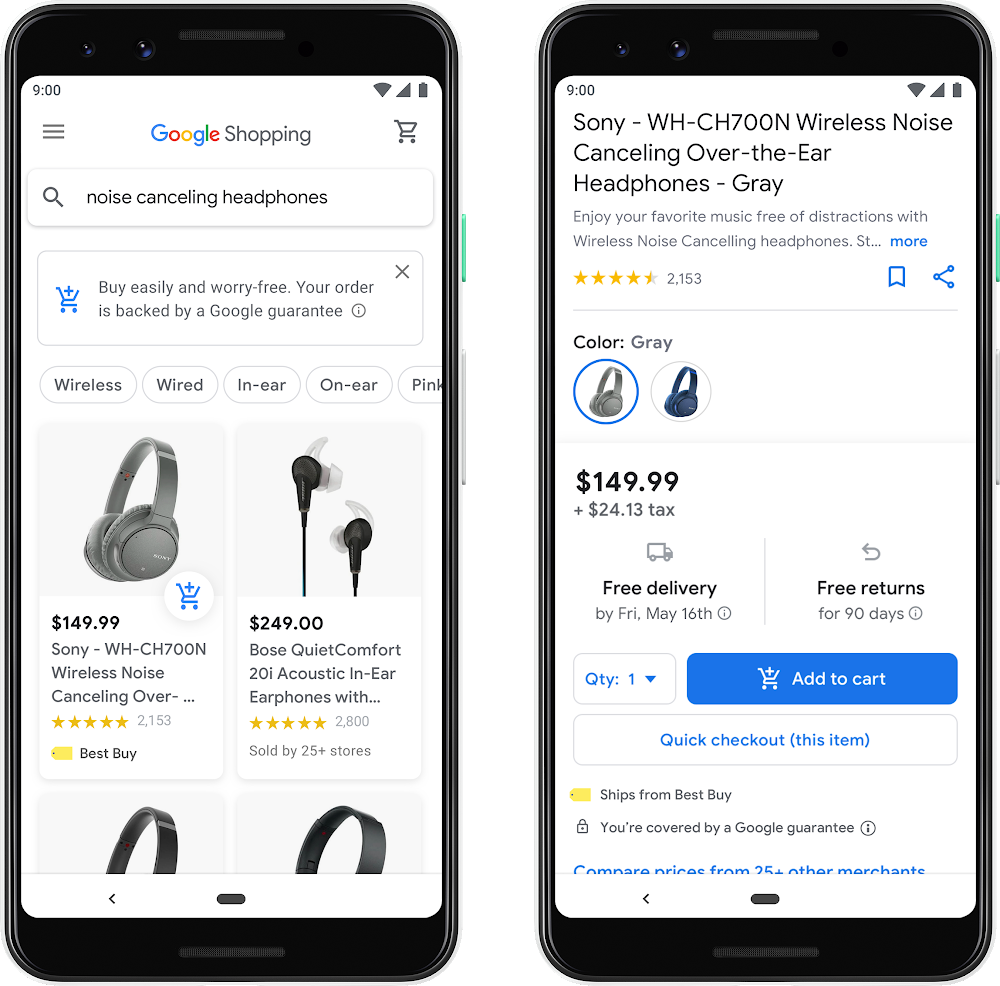 Google Shopping Mock