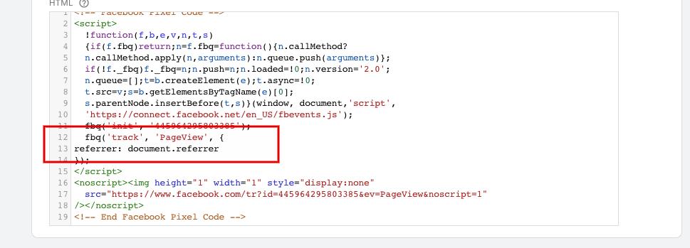 Добавление параметра в код пикселя