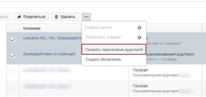 Интерфейс Facebook: пересечение аудиторий