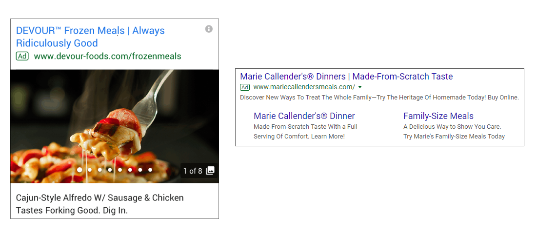 Примеры объявлений Gallery Ads