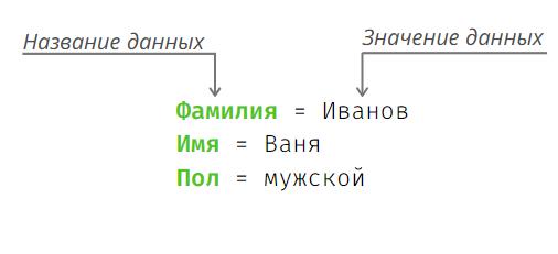 Название и значение данных