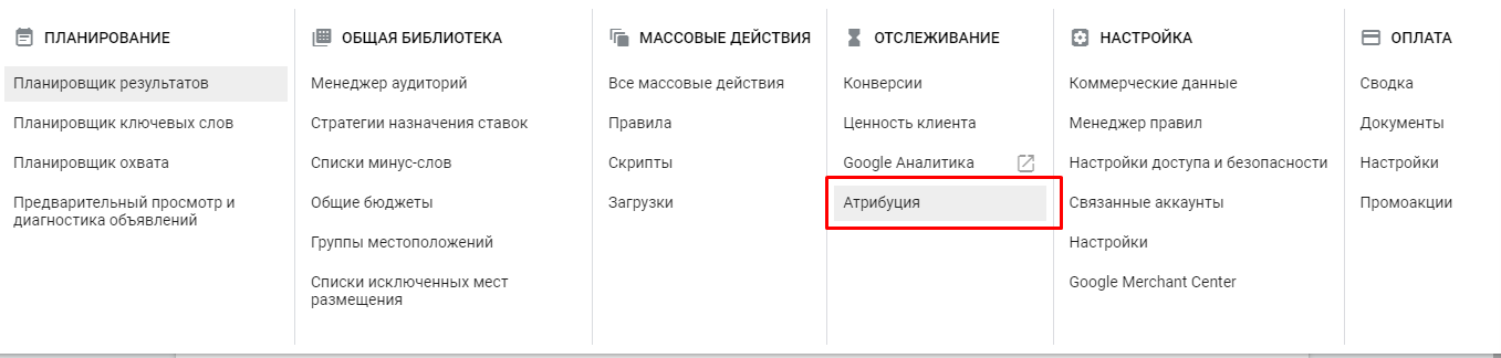 Отчет по атрибуции в Google Ads